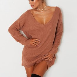 Wholesale black v neck jumpers resale online - V Neck Womens Sweaters Off Shoulder Full Sleeve Long Jumper Femme Pullovers Black Grey Autumn Casual Top