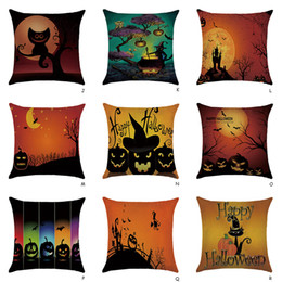 $enCountryForm.capitalKeyWord Australia - Wholesale Halloween Decor Cotton Linen Throw Pillow Case Home Bed Sofa Waist Cushion Cover Square Pillowslip Pillow Cover 45 cm