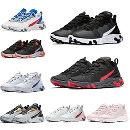 white trainers for woman NZ - New react element 87 55 running shoes for men women Light Bone triple black white royal Solar red mens trainers sports sneakers runner85bb#