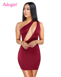 Wholesale casual evening outfits resale online – Adogirl Solid Hollow Out One Shoulder Bodycon Dress Women Sexy Sleeveless Sheath Mini Evening Party Dress Night Club Wear Outfit