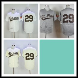 St cream online shopping - St Louis Browns Satchel Paige Jersey Gray White Cream Vintage Retro Baseball Jerseys Shirt Stitched Top Quality