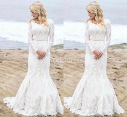 T Shirts Style Australia - Modest Mermaid Lace Wedding Dresses With Long Sleeves O-Neck Sweep Train Illusion Beach Bridal Gowns Country Style Classic Vestidoe De Noiva