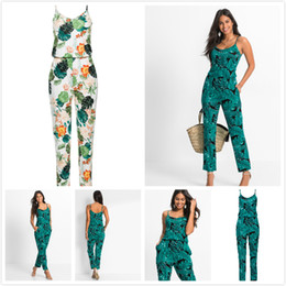 Leisure Jumpsuit Australia - Sexy V Neck Sling Women Jumpsuits Leaves Green White Print Summer Beach Leisure Jumpsuits Summer Women Jumpsuits Rompers Women Clothes