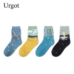 Wholesale famous painting socks online – funny Urgot Pairs Famous European Art Socks Women Oil Paint Female Socks Casual Vintage Fashion Classic Lady Cotton Women Calcetines