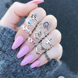$enCountryForm.capitalKeyWord Australia - Hot Bohemian Fashion Jewelry Ancient Silver Knuckle Ring Set Flowers Leave Hollow Out Stacking Rings Midi Rings Set 10pcs set S316