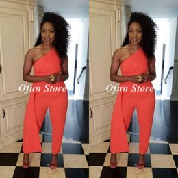 $enCountryForm.capitalKeyWord Australia - Chic Coral Jumpsuit Evening Dress Cheap One Shoulder Satin Sleeveless Formal Dresses For Special Occasion Wear