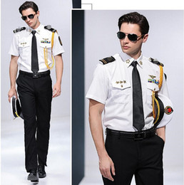 Men s suit accessories online shopping - Summer Chinese crew Cruise Ship Captain shirt seaman Clothes Shirt pants Accessories Cosplay performance Uniform men Suits