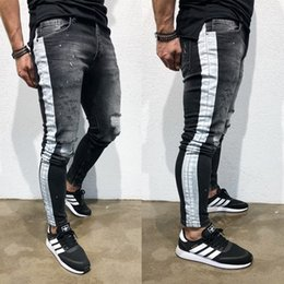 07b57beffd7 Discount black ripped skinny jeans male - Mens Fashion Denim Long Pencil  Pants Side Striped Ripped