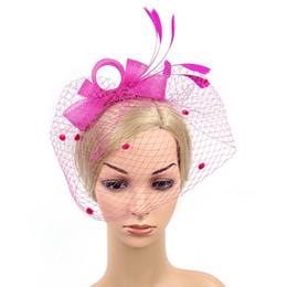 grey hair clips 2019 - Party Fascinator Hair Accessory Feather Clip Hat Flower Lady Veil Wedding Decor cheap grey hair clips