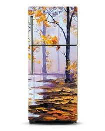 $enCountryForm.capitalKeyWord Australia - Fridge Vinyl Sticker Autumn River Painting Self-Adhesive Vinyl Refrigerator Decal   Fridge Wraps   Refrigerator Wrap