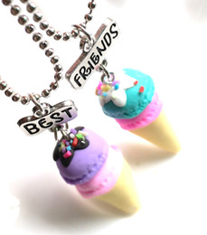 $enCountryForm.capitalKeyWord Australia - Children Best Friend Necklace Resin Pink Blue Purple Ice Cream Heart Pendant BFF 2 Necklace Jewelry Gifts For Kids 2PCS Set