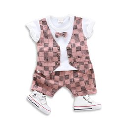 $enCountryForm.capitalKeyWord Australia - Summer baby boy clothes skull Boys Suits bow tie vest T shirt+Shorts Boys Clothing Sets Newborn Outfits Baby Suit toddler boy clothes