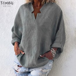 female linen shirts NZ - New Fashion Women Star V Neck T Shirt Long Sleeve Female Sexy Tee Tops Women Cotton Linen Shirt Ladies Shirts 2020