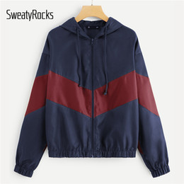 Discount navy hooded women s coat - SweatyRocks Navy Two Tone Drop Shoulder Hooded Jacket Long Sleeve Active Wear Coats And Jackets Autumn Womens Casual Jac