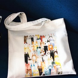 $enCountryForm.capitalKeyWord NZ - YILE Zippered Cotton Canvas Eco shopping Tote Shoulder Bag Print Cat Group D085
