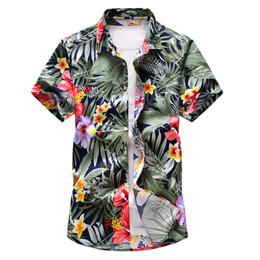 Brown Dress Shirts For Mens UK - Shirt Men 2019 Summer New Short Sleeve Hawaiian Shirt Mens Casual Button Down Dress Shirts for Holiday Chemise 7XL