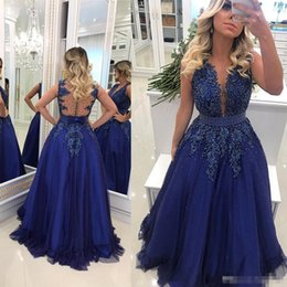 EvEning drEss jackEts covEr ups online shopping - 2019 Newest Royal Blue Evening Dresses Sheer Neck Lace Appliqued Beaded Pearls Tulle Prom Dress Sexy Illusion Back BC0593