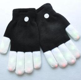 Wholesale raving gloves online – design children LED Gloves Five Fingers Light Ghost Dance Bar Stage Performance Rave prop Finger Lighting Gloves Glow Flashing warm magic gloves