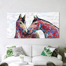 canvas prints horses Australia - 1 Piece Wall Art Canvas Painting Animal Picture Colorful Couple Horse Posters Prints Home Decor No Frame Dropshipping