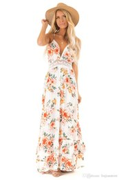 $enCountryForm.capitalKeyWord Australia - Summer Floral Printed Ladies Dress Womens V Neck Lace Panelled Dress Fashion Designer Backless Bohemian Dresses