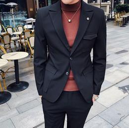 $enCountryForm.capitalKeyWord Australia - 2019 Suits Mens Smoking Slim Fit Gray Black Mens Blazer With Pants Latest Coat Pants Designs Vestidos Elgantes Para Hombre