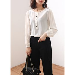 7d9be2e1b65366 100% natural silk Blouses OL Solid Color Long Sleeve Real Silk White Black Blouse  Tops for women office Wear Shirts work Blouses
