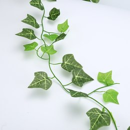 plastic green vines Canada - 5 pcs Artificial 250cm Leaves Plastic Plant Vine Wall Hanging Garden Living Room Club Bar Decorated Fake Leaves Green Plant Ivy