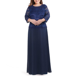 winter wedding dresses mother bride UK - Plus Size 3 4 Sleeves A Line Dark Navy Blue Chiffon Mother of the Bride Dress Lace Vintage Wedding Party Formal Gowns Modest
