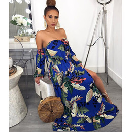 $enCountryForm.capitalKeyWord NZ - Women Summer Sexy Strapless Dresses Designer Open Back Bohemian Clothing Long Sleeve Fashion Spring Casual Apparel