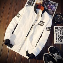 Korean Zipper Jackets Hoodies Australia - Mens white designer hoodie sweatshirt sweat coat jacket thin section pilot baseball clothes Korean version of the handsome trend outside