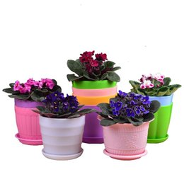 Wholesale Colorful Plant Pot Designs Round PP5 Flowers Plot With Tray Succulent Planting Tools Garden Potted Planters Sets DHL