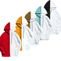 Wholesale hooded block for sale - Group buy New Men s Color Blocking Hoodies Cotton Long Sleeve Symmetrical Pattern Top Hooded Shirt Jumper Loose Streetwear Sweatshirt