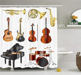 $enCountryForm.capitalKeyWord Canada - Music Shower Curtain Musical Instruments Symphony Orchestra Concert Composition Theme Colorful Pattern Cloth Fabric Bathroom Decor Set