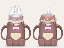Hot Water Bottle Animals Australia - 2019 hot!240ml Baby Bottles Baby Kids Water Bottle With Straw Child drinking bottle Feeding Glass Cup Tumbler leak proof