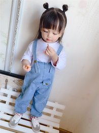 denim harem pant jumpsuit Australia - New INS Little Girls Overalls Rompers Autumn Sleeveless Front Big Pockets Designs Fashions Jumpsuits Kids Girls Denim Jeans Clothing Pants