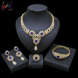 $enCountryForm.capitalKeyWord Australia - Yulaili Trendy Water Drop Crystal Pendant Flower Shape Necklace Earrings Bracelet Ring Nigerian Wedding Jewelry Sets For Women Wholesale