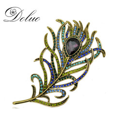 pins big Australia - Retro Crystal Feather Brooch Vintage Big Brooch Pin Peacock Feather Shape Brooch Jewelry for Women 106*59mm Rhinestone Jewelry