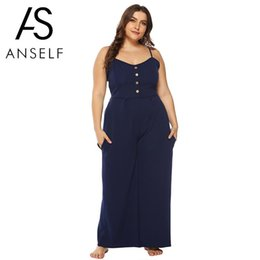 9b3622ea17f5 Sexy Overalls for Women Dungarees 3XL 4XL Plus Size Slip Jumpsuit Bow  Cutout Back Spaghetti Strap Wide Leg Pant Playsuit Rompers
