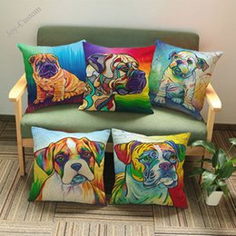 $enCountryForm.capitalKeyWord Australia - Hand-painted Watercolor Style Pet the Dog Pictures Pillow Case Household sofa decorative cushion cover Gift Custom