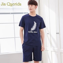 Sleep Clothes NZ - J&Q New Men Pijama 2019 Summer Mens Home Clothing Leisure Home Wear Pajama Set Solid Printing Top+shorts Sleeping Suits for Men