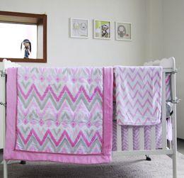 Girls Bedding Australia - Promotion 8Pcs Pink Crib girl bumper set Cotton Popular American Baby bedding set detailed Baby protect bumper set Broken line memory Quilt