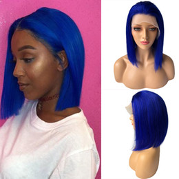 $enCountryForm.capitalKeyWord Australia - Glueless Lace Front Wigs Bob Cut Wig Brazilian Human Hair Blue Straight Wig for Black Women Pre Plucked Bleached Knots