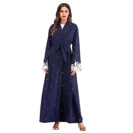 $enCountryForm.capitalKeyWord Australia - Women Elegant Club Party Muslim Abaya Dress Cardigan Blue Beading Lace Hijab Dress Caftan Oman Qatar Abayas Women Turkish