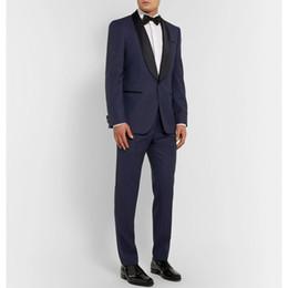$enCountryForm.capitalKeyWord NZ - 2019 Navy Blue Men Wedding Suits Custom Made Slim Fit Wedding Groom Tuxedos For Men Groomsman Best Man Suit Jacket+Pants+Bow
