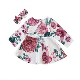 $enCountryForm.capitalKeyWord UK - Newborn Baby Girls Long Sleeve Floral Print Dresses+Headband 2PCS Outfit Clothes For 0-24 Month