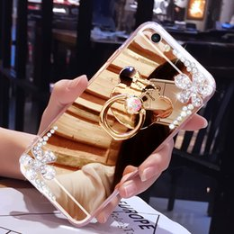 Chains For Mirrors Australia - New fashion luxury diamond ring Holder mirror cases For iphone xs max xr x 6 7 8 6s plus phone case Flowers With chain Soft Silicone cover