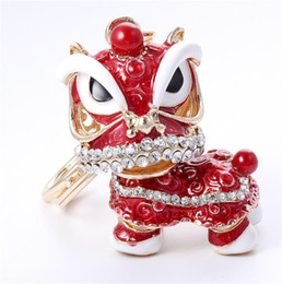 $enCountryForm.capitalKeyWord Australia - Chinese Style Traditional Colorful Lion Dance Keychain China Town Happy New Year Promotional Gift Purse Bag Charm Key Unicorn Chain Ring