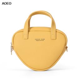 Ladies Messenger Handbags Australia - AOEO Handbags Women PU Leather Heart Design Small Mini Ladies Bag Kawaii Yellow Fashion Korean Girl Shoulder Messenger Bags
