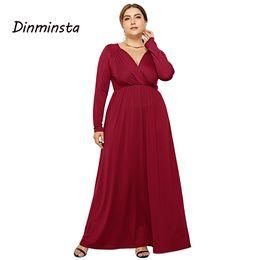 Dinminsta New Spring Women Dress Plus Size Deep V-neck Full Sleeves Ankle Length  Vintage Long Party Frocks Busty Female Vistidos d92d361fb