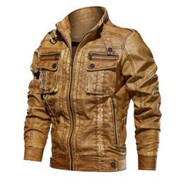 $enCountryForm.capitalKeyWord Australia - Bomber Pilot Leather Jacket Men Autumn Winter Casual Slim Fit Faux Leather Coat Motorcycle Multi-Pocket Jacket 6XL